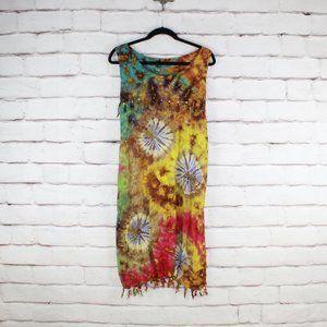 West Side Designs Tie Dye Beaded Sleeveless Dress